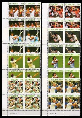 ST. VINCENT 1988-Cricketers of 1988 Inter Season, Comp. Set of 8 Corner Blocks
