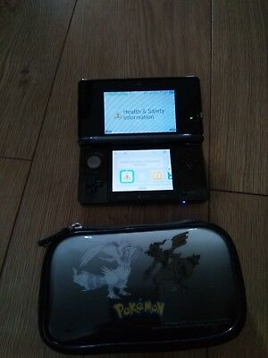 nintendo 3ds black with pokemon case in good working condition.