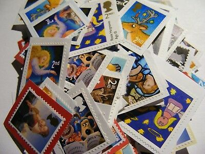 100 2nd class Xmas Mixed  stamps unfranked (lot 2183)