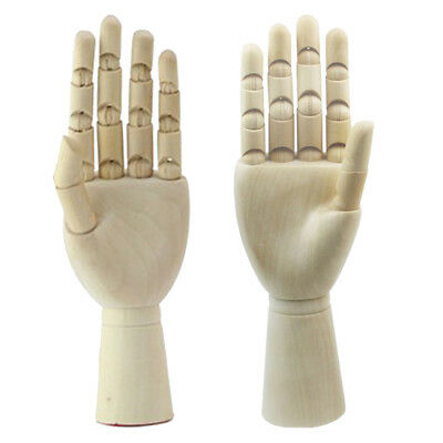 Prettyia 1 Pair 18cm Jointed Wooden Hand Mannequin Hand Painting Manikin Aid
