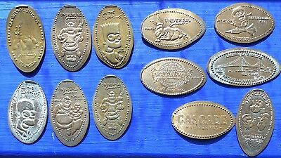 12 Collectable Imprinted Souvenir Pennies From US Crank Handle Machines