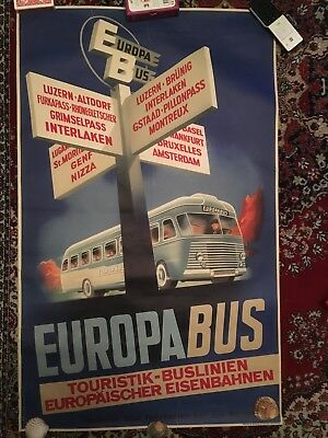 Affiche ancienne originale Europa Bus