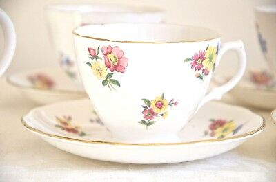 VINTAGE TEACUP & SAUCER. Royal Vale meadow flowers bone china Made in England