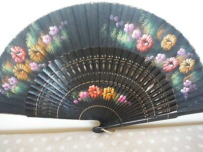 Vintage Hand Fan Hand Painted Floral Fabric Decorative Wood Sticks V.g.c.