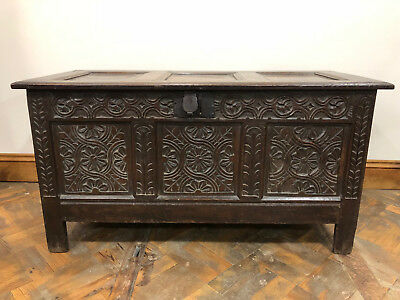 18th Century Gothic Style Welsh Oak Coffer - Delivery Available