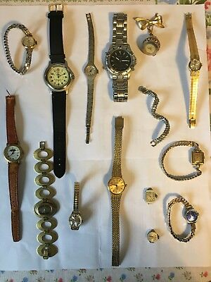 Job Lot Watches Spares Or Repair, Vintage, Collection, Gold Plated, Antique