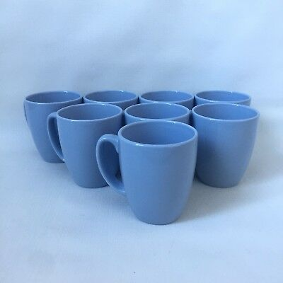 Set of (8) Medium Blue Corelle Stoneware Coffee Cups Mugs