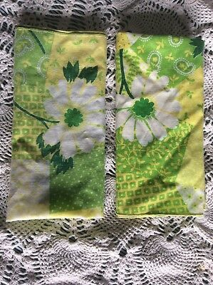"""Pair of Vintage Hankies, Floral In Beautiful Yellow, Green, and Whites 16"""" X 16"""""""
