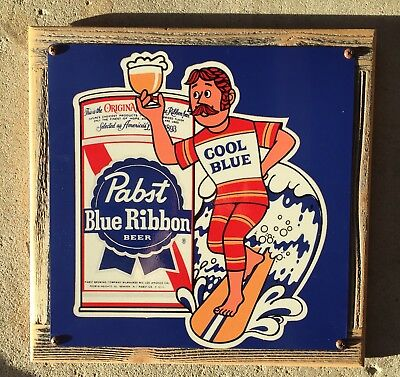 Pabst Blue Ribbon Beer PBR Cool Blue Surf Surfing Surfer Vintage Framed Sign USA