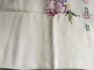 Vintage Hand Embroidered Linen Tablecloths Side Table Flowers Floral