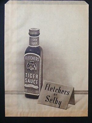 Illustrated Advertising PAPER BAG for FLETCHERS ' TIGER SAUCE ' - 1950's