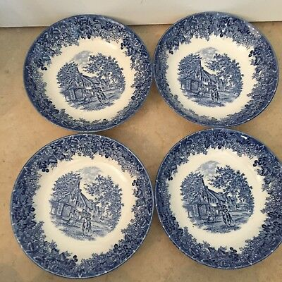 Wedgwood Romantic England Blue White Wedgwood Salad Soup Cereal Bowls SET 4 NEW
