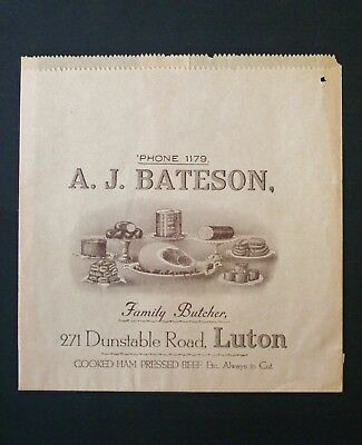 Illustrated Advertising PAPER BAG for BATESON Family Butcher of Luton - 1950's