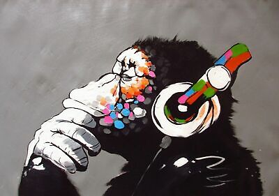 Banksy Dj Monkey Gorilla Chimp - 34X24 Inch Large Framed Canvas