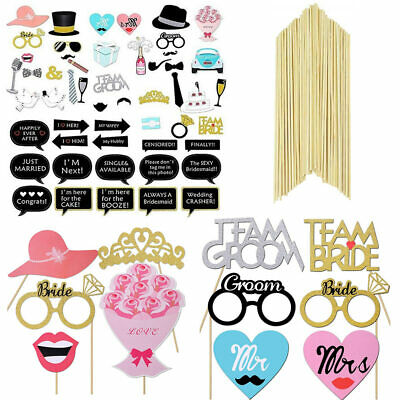 52PCS Wedding Photo Booth Props Engagement Photography Hen Evening Party Selfie