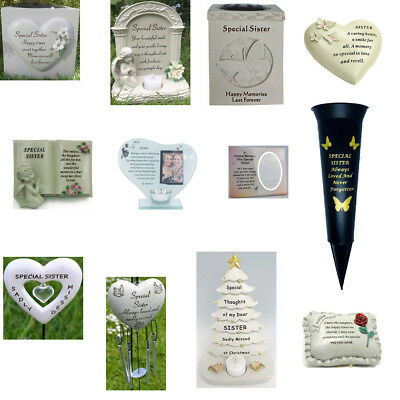 Special Sister Memorials Heart Butterfly Wind Chime Grave Plaque New Book Vases