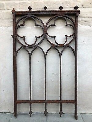 Stunning French Gothic Church Cast iron Fence/ Gate Door Decoration circa 1880 2
