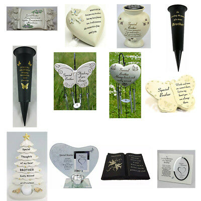 Special Brother Memorials Heart Butterfly Wind Chime Grave Plaque Memorial Book