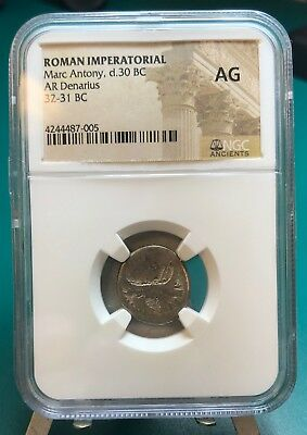 Marc Antony c. 32-31 BC AR Denarius Graded by NGC AG Harlan Berk Verified