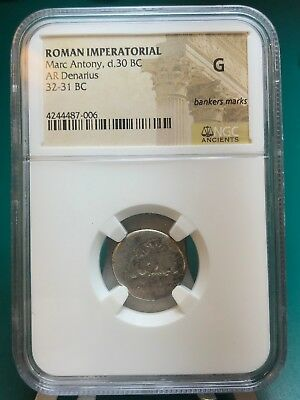 Marc Antony c. 32-31 BC AR Denarius Graded by NGC G Harlan Berk Verified