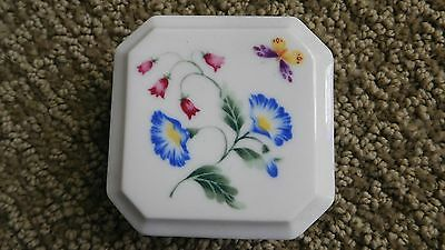 Avon Gallery Originals Botanical Porcelain Stamp Holder Trinket Box  Flowers