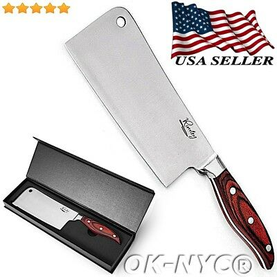 Rivaley 7-Inch Cleaver Butcher Knife Quality Stainless Steel Home Professional