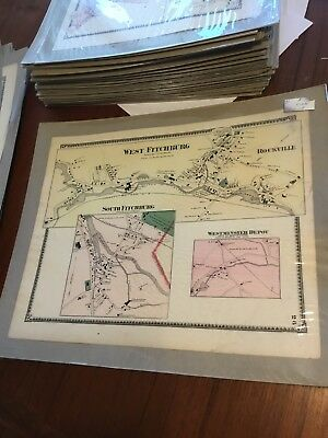 Original Antique 1870 Map West Fitchburg Massachusetts Westminster F.W. Beers