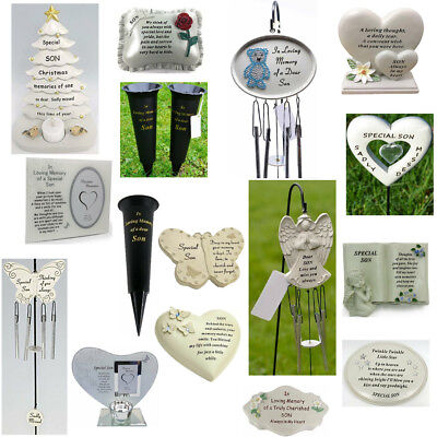 Son Memorials - Heart Butterfly Wind Chime, Grave Plaque, Memorial Book,Vases
