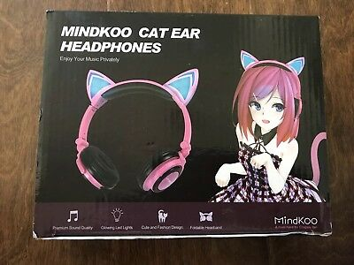 MindKoo Wireless Headphones Over Ear Cat Bluetooth White / Blue Headset with LED