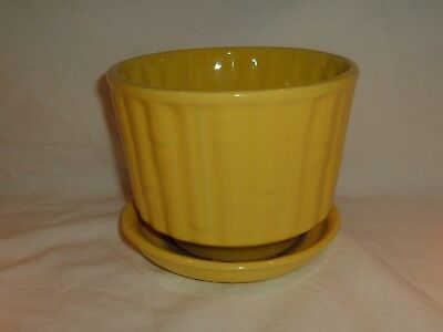 "Vintage McCoy USA Pottery 5 1/4"" Tall 0374 6 1/2"" Yellow Bamboo Pattern Planter"
