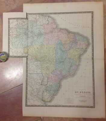 BRAZIL URUGUAY PARAGUAY BRUE XIXe CENTURY LARGE ANTIQUE ENGRAVED MAP IN COLORS