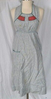 Vintage Green/blue Striped Full Length Front Pocket Apron