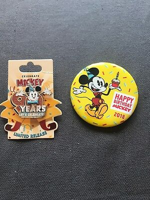 Disney Mickey Mouse Happy 90th Birthday Let's Celebrate pin set 2018