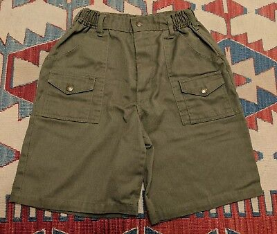 VINTAGE 1980s BOY SCOUTS OF AMERICA SIZE 14 WAIST 27 GREEN SHORTS BSA USA RARE