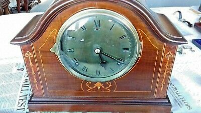 American Gilbert Inlaid Mahogany Mantel Clock Working