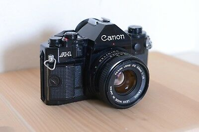 Canon A-1 35mm SLR Film Camera with 50mm f/1.8 Manual Focus Prime Lens
