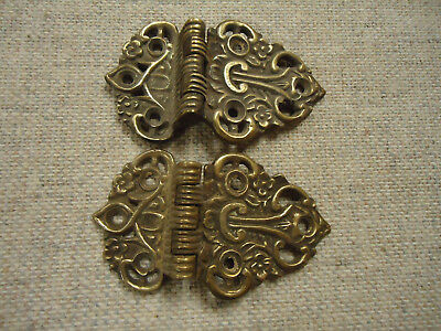 """Pair Of  Vintage Solid Brass Ice Box Hinges  3/8"""" Offset"""