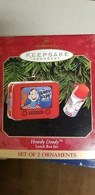 Hallmark Keepsake Ornament Lunchbox Howdy Doody set Of 2 Ornaments NEW! Rare