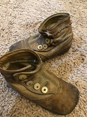 Antique Leather Side Button Baby Infant Child Doll Shoes Vintage Old