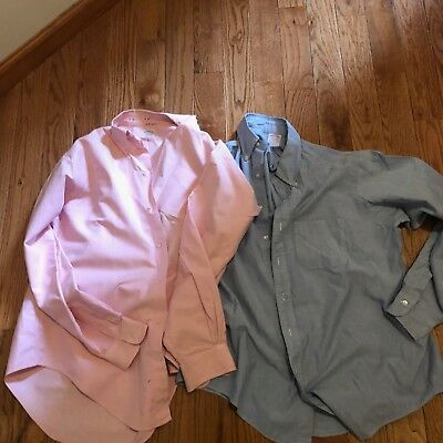 2 Brooks Brothers Makers Men's Button Up Long Sleeve Dress Shirts Blue & Pink