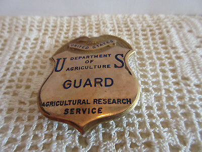 Vintage OBSOLETE Gold Filled US Department of Agriculture GUARD Badge Pin Front