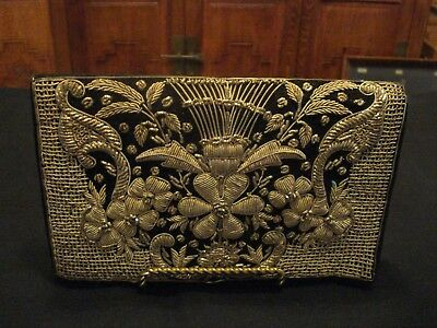 Vintage Embroidered Gold Threading & Black W/Snap Clutch Purse with Hand Strap