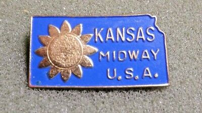 Kansas Midway USA Lapel Pin Brooch Looks Vintage State Shaped Blue Gold Colored