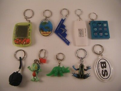 Lot of 10 Mixed Keychains Key Chains Junk Drawer Travel Animal Game