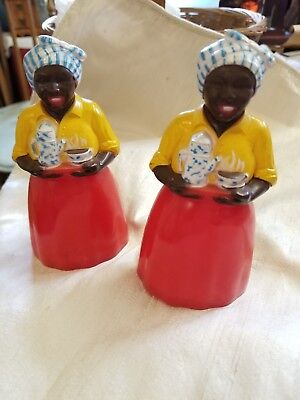 "Vintage 5"" Black Americana Luzianne Lagniappe Salt And Pepper Shakers"