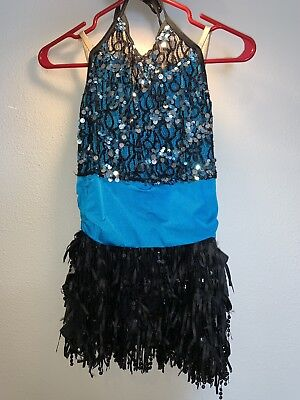 Blue And Black Girls Dance Costume XL
