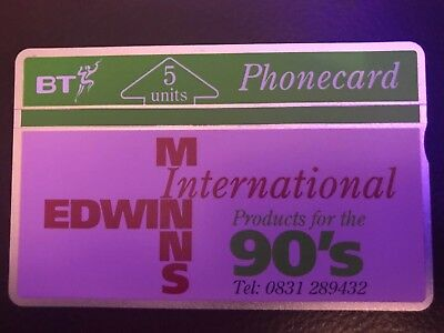 BTP051 - UK BT Phonecard - Edwin Minns International PINK 5u Mint Unused