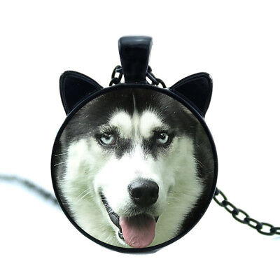 "Siberian Husky Dog With Ears 20"" Black Chain Glass Cabouchon Pendant Necklace"