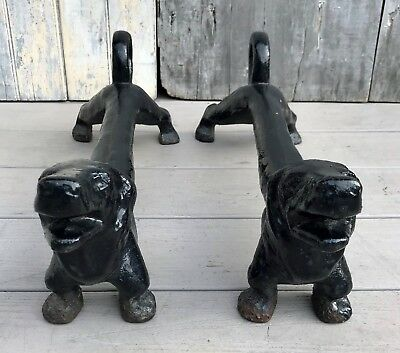Antique Pair of Dachshund Dog Cast Iron Andirons c. 1920