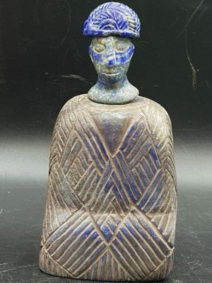 12cm Old Bactria King Face Head With Cap Lapis lazuli Stone Rare  Statue # 8R